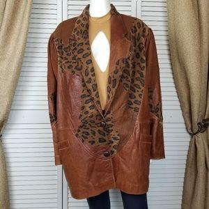 Vintage 80's patchwork leather jacket coat Euro 42